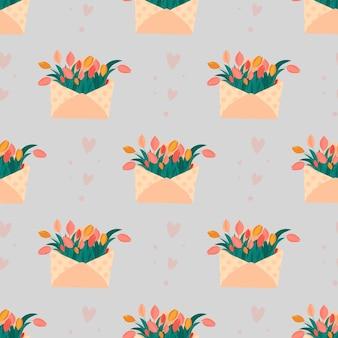 Симпатичные бесшовные конверты с цветами тюльпанов и сердца