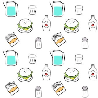 Cute seamless pattern fast food vector.