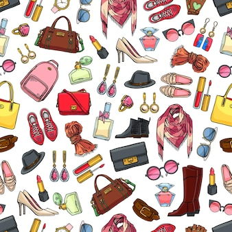 Cute seamless pattern of female clothing, shoes and accessories.