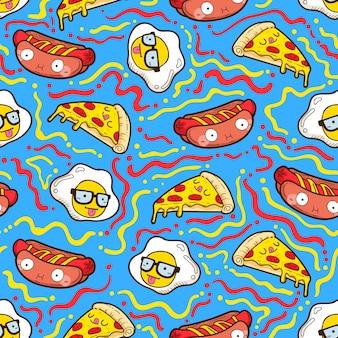 Cute seamless pattern, food seamless pattern
