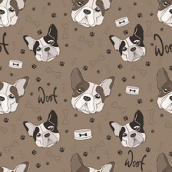 Cute seamless pattern of french bulldog.