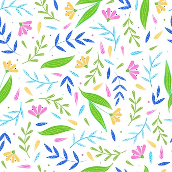 Cute seamless pattern from abstract floral objects