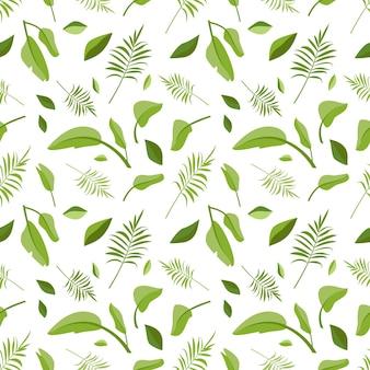 緑のヤシの葉からのかわいいシームレスパターンは、花柄の春または夏のプリントを残します