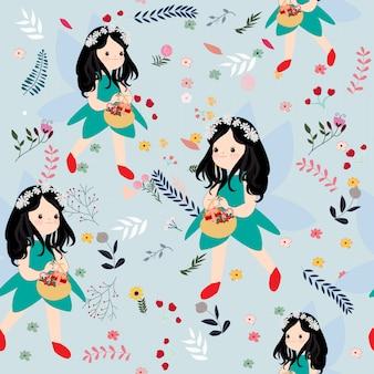 かわいいシームレスパターンの女の子と野生の花