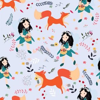 Cute seamless pattern girl and wild fox