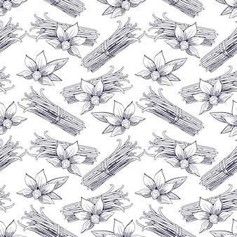 Cute seamless pattern of hand-drawn vanilla