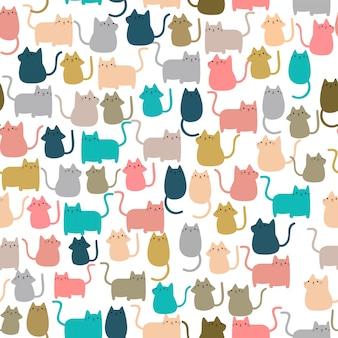 かわいいシームレスパターンハッピーキティの子猫猫
