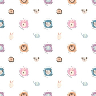 Cute seamless pattern of head animal with polka dot style