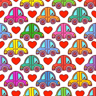 자동차와 하트의 귀여운 완벽 한 패턴입니다. 손으로 그린 그림