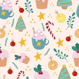 クリスマスのお菓子のかわいいシームレスパターン。ココアジンジャーブレッドクッキーオレンジキャンディケイン。クリスマスの包装紙、手描きイラスト。