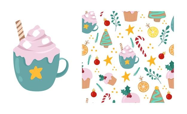Симпатичные бесшовные модели рождественских сладостей, изолированные на белом фоне. какао, имбирное печенье, апельсин, конфета. рождественские и новогодние оберточные бумаги. вектор рисованной illustation.