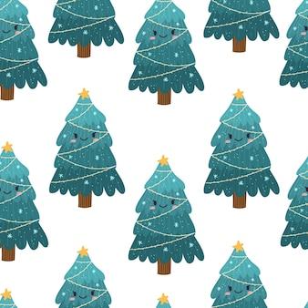 クリスマスツリーのかわいいシームレスパターン。クリスマスと新年の包装紙。ベクトル手描きのイラスト。