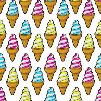 カラフルな漫画のアイスクリームのかわいいシームレスパターン。