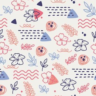 꽃 낙서의 귀여운 원활한 패턴