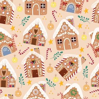手描きスタイルのジンジャーブレッドhousesweetクリスマス伝統的なクッキーのかわいいシームレスパターン