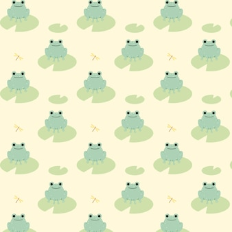 Симпатичные бесшовные модели зеленых лягушек.