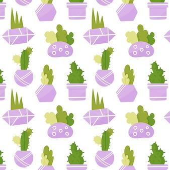 집 식물의 귀여운 완벽 한 패턴입니다. 라일락 냄비에 다육 식물. 손으로 그린 프리미엄 벡터