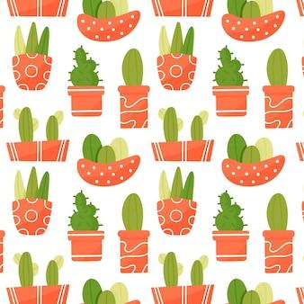 観葉植物のかわいいシームレスパターン。オレンジ色の鉢の多肉植物。手描きのプレミアムベクトル