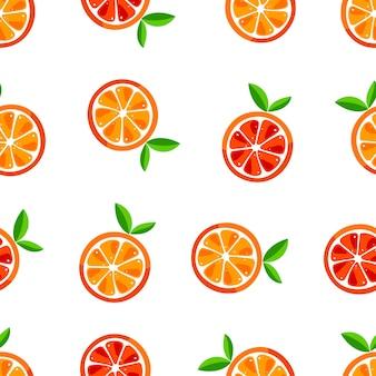오렌지의 귀여운 완벽 한 패턴입니다. 벡터 일러스트 레이 션