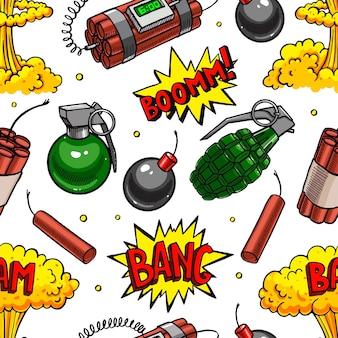さまざまな爆発装置のかわいいシームレスパターン。手描きイラスト