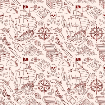 Cute seamless pattern of a pirate ship and attributes. hand-drawn illustration
