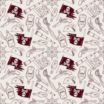 Cute seamless pattern of a pirate ship and attributes