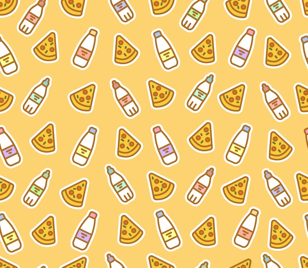 Cute seamless pattern of pizza slices and bottles. milk, water, fast food.