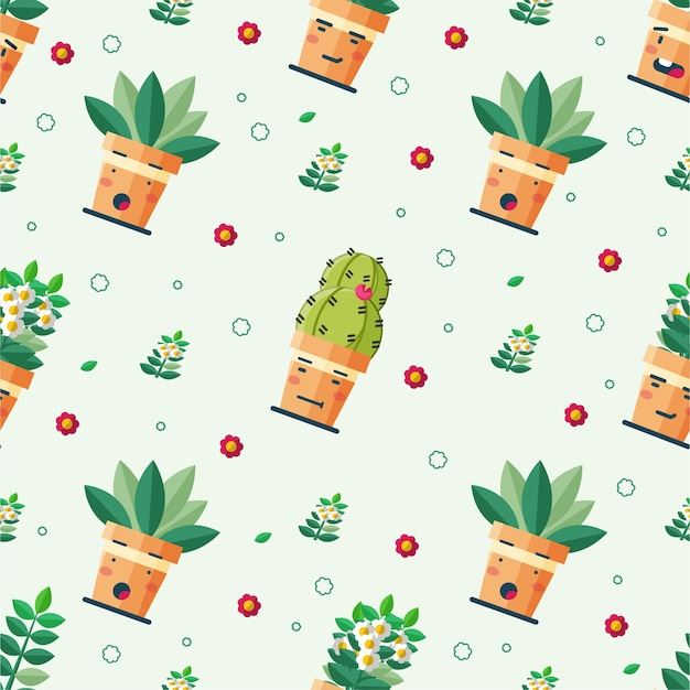 Cute seamless pattern potted plant