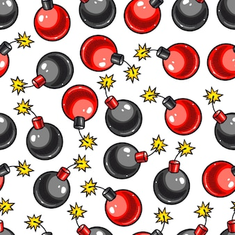 Cute seamless pattern of sketch bombs. hand-drawn illustration