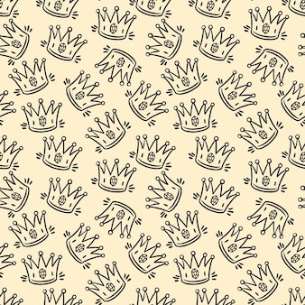 Cute seamless pattern of sketch hand-drawn crowns
