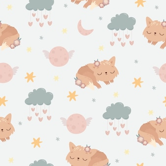 Cute seamless pattern sleeping animal