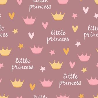 귀여운 원활한 패턴 문구 작은 공주 왕관 하트 스타