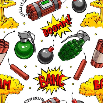 Cute seamless pattern of various explosive devices. hand-drawn illustration