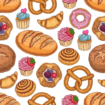 Cute seamless pattern of various pastries. hand-drawn illustration