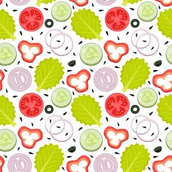 귀여운 원활한 패턴 야채 음식 양상추 양파 링 파프리카 오이 올리브 토마토 씨앗
