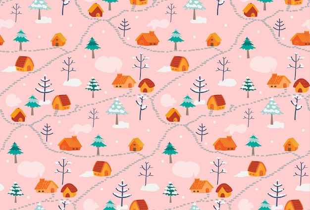Cute seamless pattern whit little houses