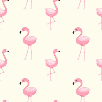 만화 스타일의 핑크 플라밍고와 함께 귀여운 완벽 한 패턴입니다. 직물, 벽지 및 종이에 인쇄하기 위한 밝은 배경. 벡터