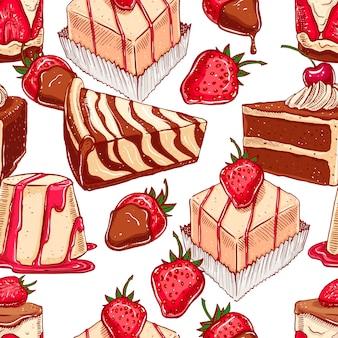 食欲をそそるさまざまなデザートとかわいいシームレスパターン