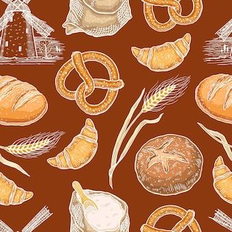 다양한 베이커리 제품과 함께 귀여운 매끄러운 패턴입니다. 손으로 그린 그림