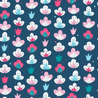 Cute seamless pattern with abstract flowers
