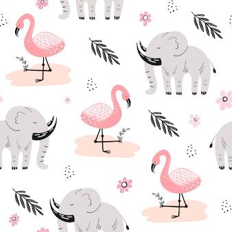 アフリカの動物とかわいいのシームレスパターン