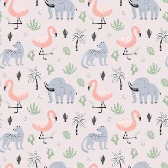 아프리카 동물과 함께 귀여운 원활한 패턴