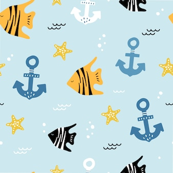 Cute seamless pattern with anchors and fish.