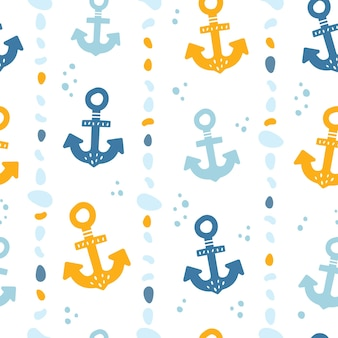 Cute seamless pattern with anchors marine theme