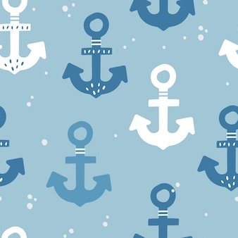 Cute seamless pattern with anchors