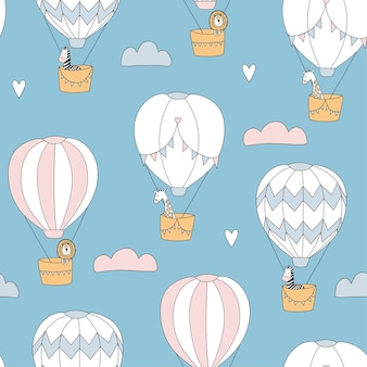 Cute seamless pattern with animals on balloons. lion, giraffe and zebra. great for kids apparel, nursery decoration.