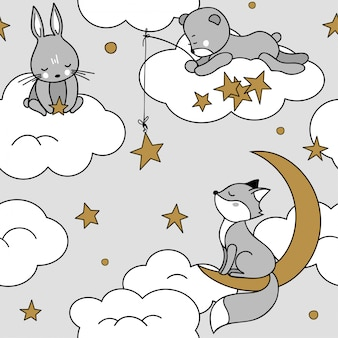 Cute seamless pattern with animals on the clouds. fox, bear, hare.