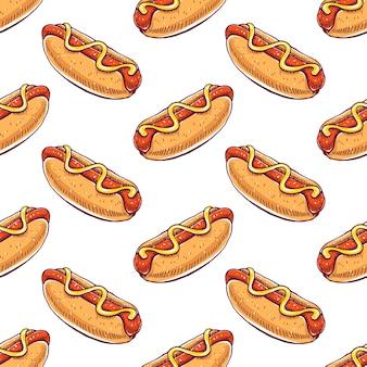食欲をそそるホットドッグとかわいいシームレスパターン