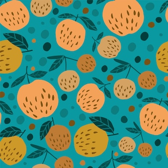 Cute seamless pattern with apples and leaves