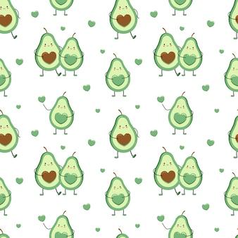 아보카도 애인과 귀여운 원활한 패턴